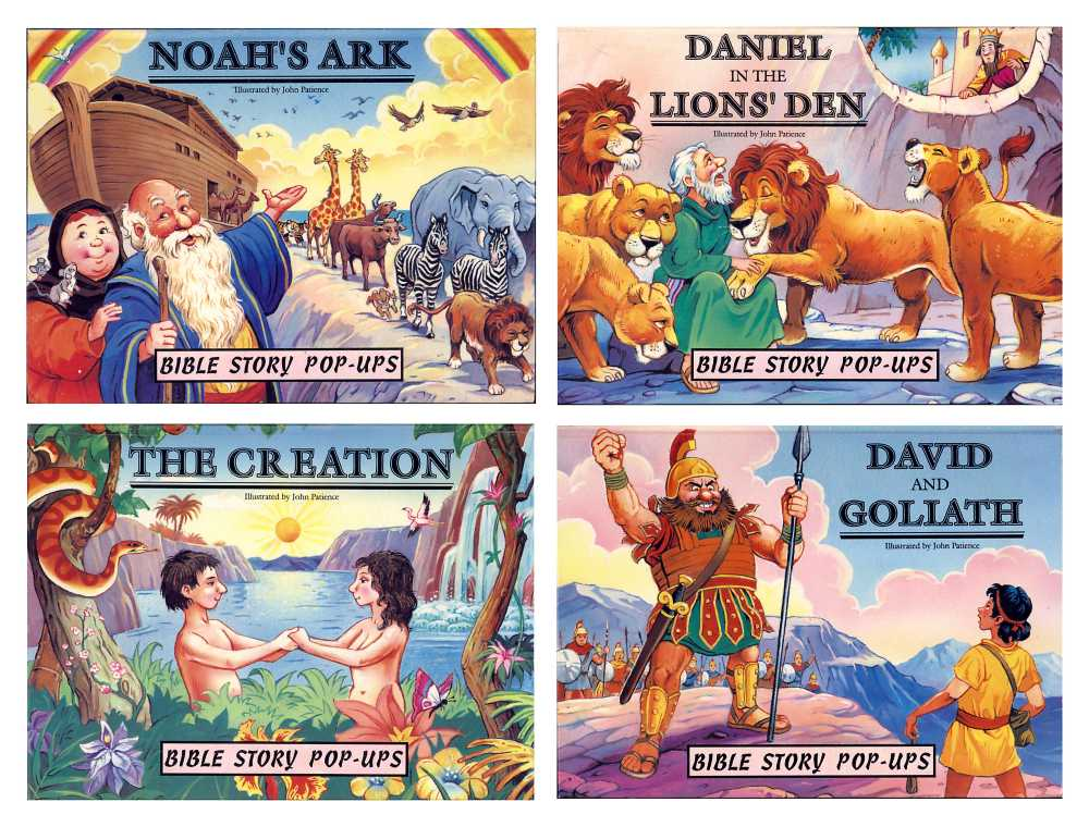 Cover of the the four books in the Bible Story Pop-ups series, illustrated by John Patience